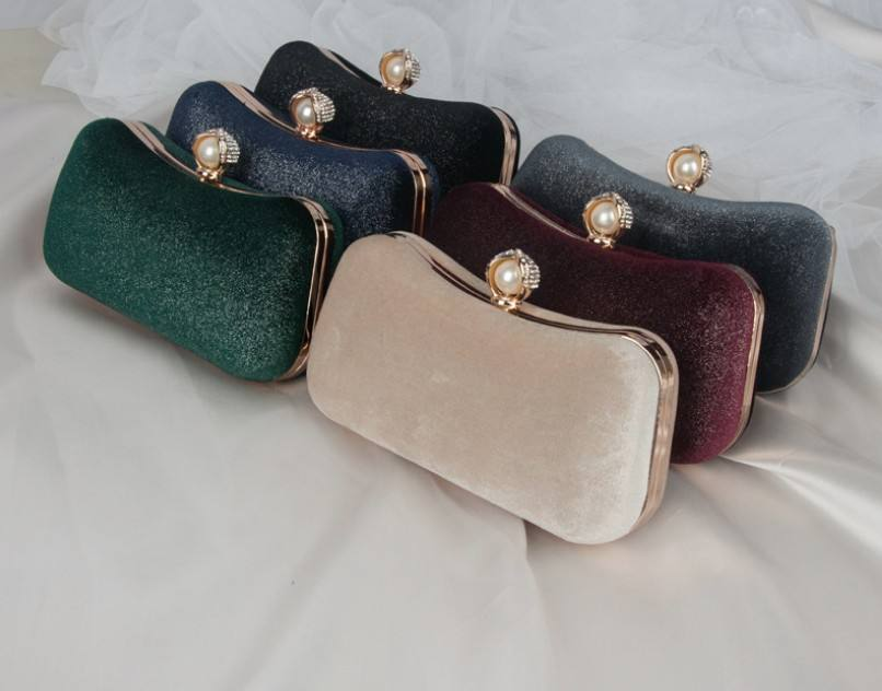 TLB-8C258 Wholesale elegant retro velvet evening bag gold plated hand bag chain soulder lady bag