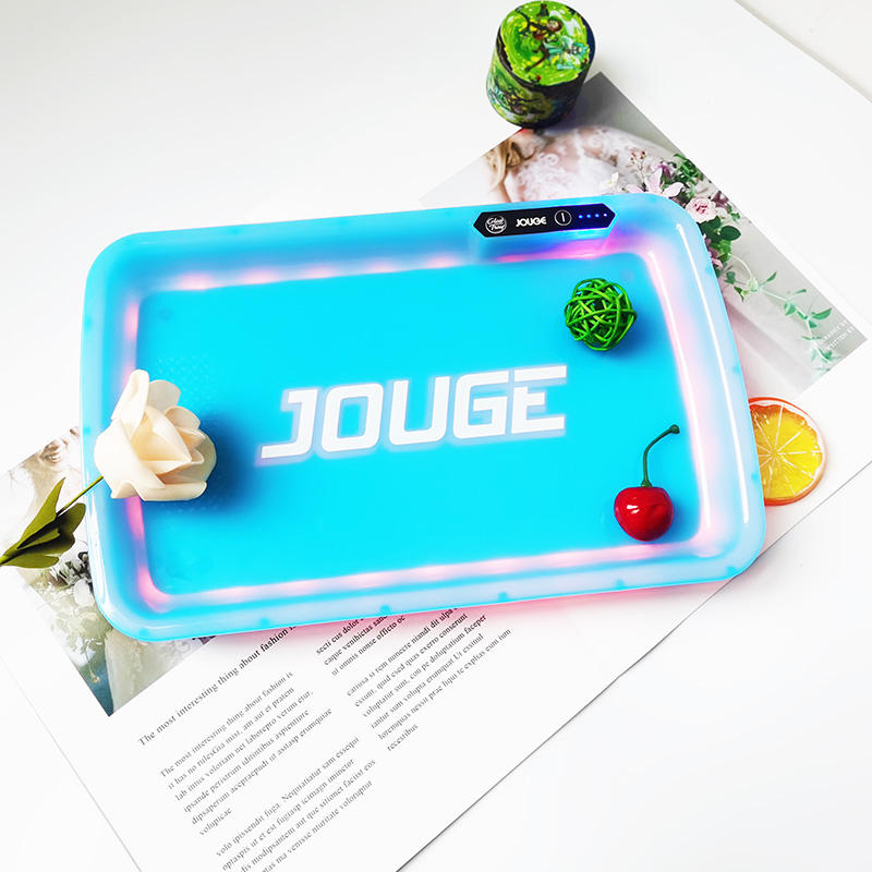 Wholesales hot sale custom glow led 27 cm rolling tray Cookies and Runtz high quality plastic weed smoking accessories