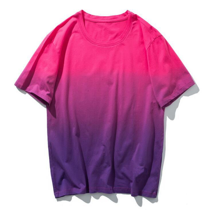 2016 Summer Men/'s Dip Dye Purple Pink Short Sleeve Crew Neck T-Shirt S M L XL