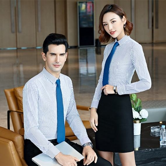 High quality business long sleeve overalls striped uniform shirt