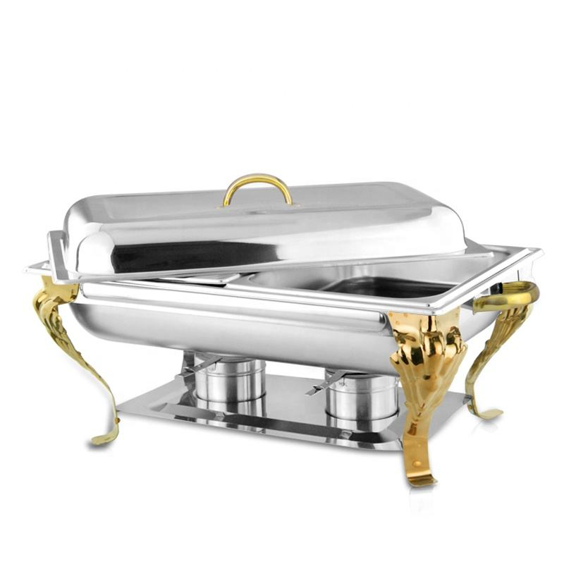 Wholesale Golden Stainless Steel Buffet Food Warmer Chafing Dishes