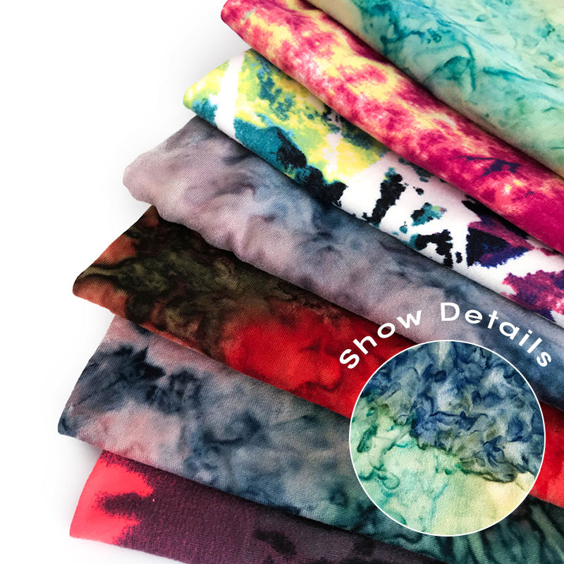 Essetex DTY Tie dye good spandex two side brushed fabric knitting 95%polyester 5%spandex best price
