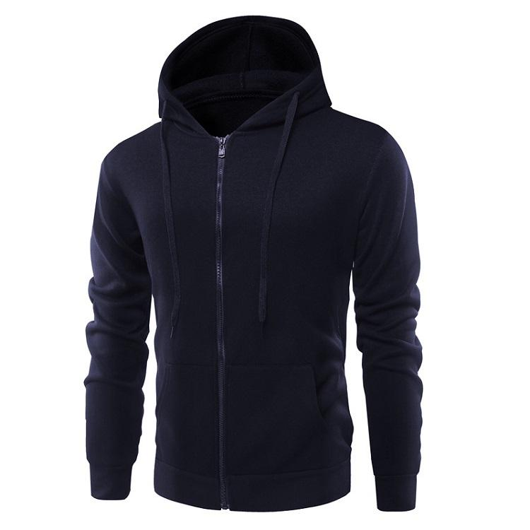 2020 Round Collar Sweater Men's Long Sleeve T-shirt Solid Color Base Shirt Zipper Hoodie