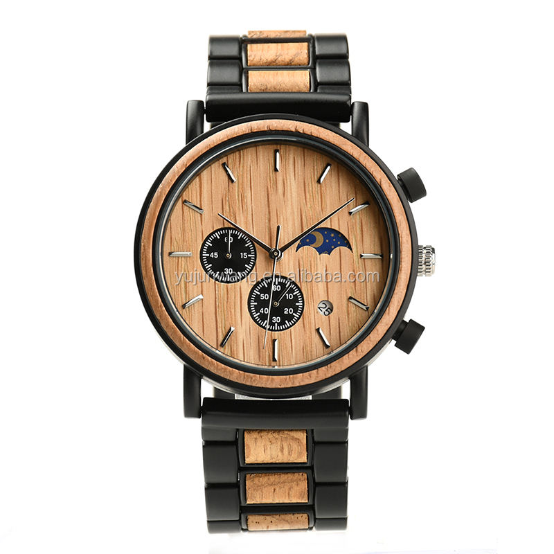 Men Luxury Stainless Steel Wood Watch Golden Hour Waterproof Chronograph Moonphase Wrist Watch Wooden