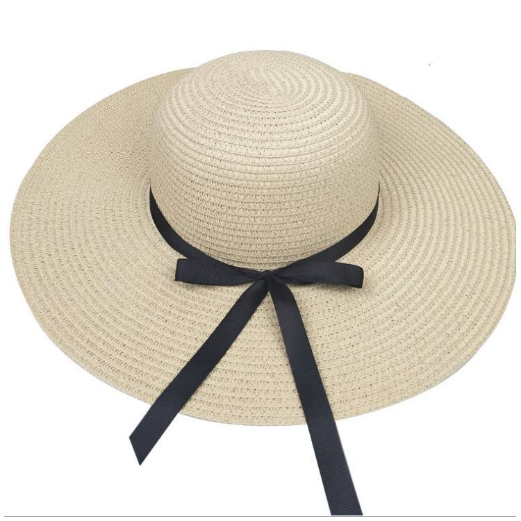 Summer straw hat women big wide brim beach hat foldable sun block UV protection panama hat
