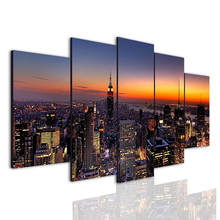 Modern Urban Night View Cityscape Photo Printing Artwork Canvas Wall Art 5 Panel Painting Picture Custom Art Print