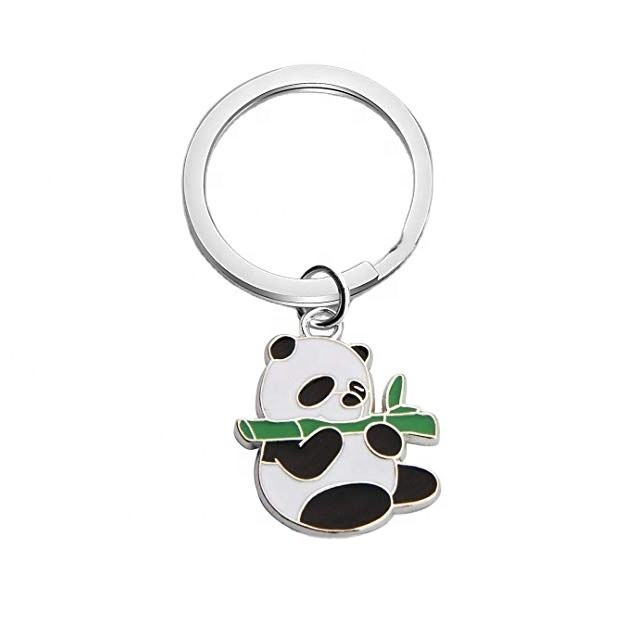 Manufacturer maker custom made brass zinc alloy usa souvenir 3d animal shaped cartoon metal bamboo panda keychain