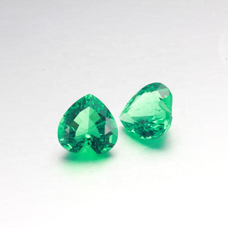 8x8mm Heart shape Lab grown created synthetic Hydrothermal green loose gems for ring setting