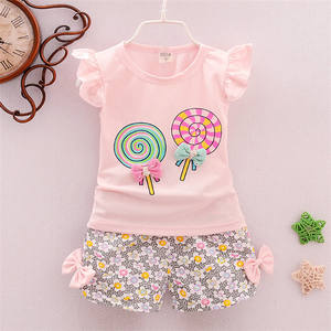 Baby Set Girl Outfit Summer Two Piece Sleeveless Top Shirt + Floral Shorts Super Soft Cotton Material Kids Clothes Se