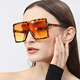 Color PC square metal hinge sunglasses Female oversize Vintage flat top sunglasses female male sunglasses block the sun