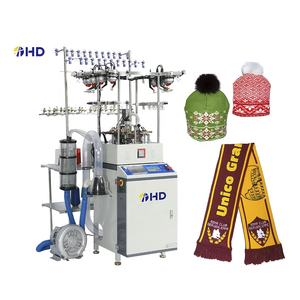 Fully computerized high speed automatic jacquard machine for knitting beanie cap scarf
