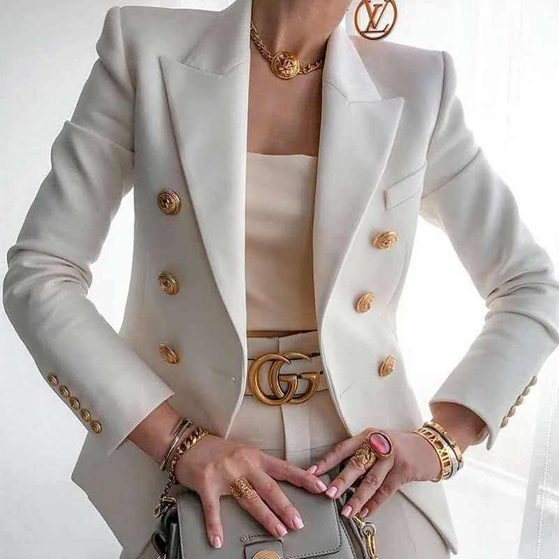 Wholesale Long Sleeve Casual Jacket Button Ladies Blazers Solid Color Women's Suit