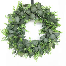 20 inch Artificial Leaves Green Eucalyptus Wreath For Front Door Wreath