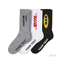 OEM personalized logo custom design pattern athletic white black men tube cotton sports socks sox crew sport socks stock lot