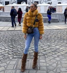 2020 new style real fur coat female winter warm short outerwear zipper up cloth 100% natural fox fur jacket with fur collar