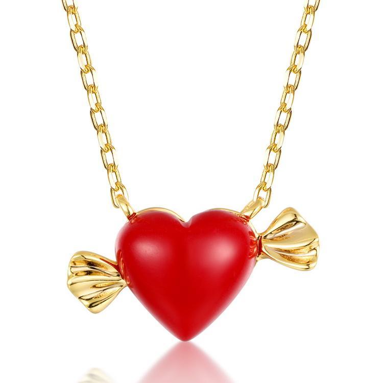 الحب الحلو الحلوى المرجان الأحمر القلب S925 فضة قلادة ل راتبها