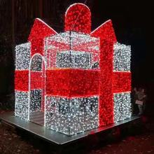 fancy outdoor led sculpture 3d motif light gift box christmas festival light sculpture decor