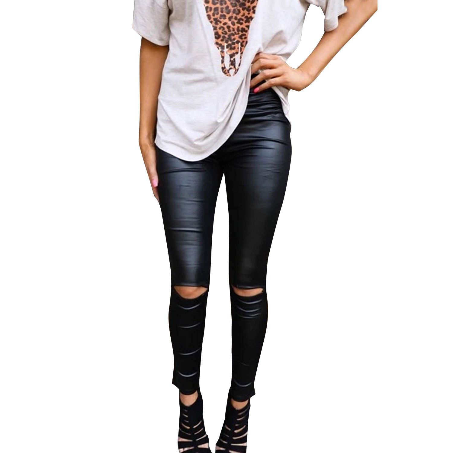 Hot Girls Sexy Tight Pants Black Skinny Faux Leather Leggings for Women