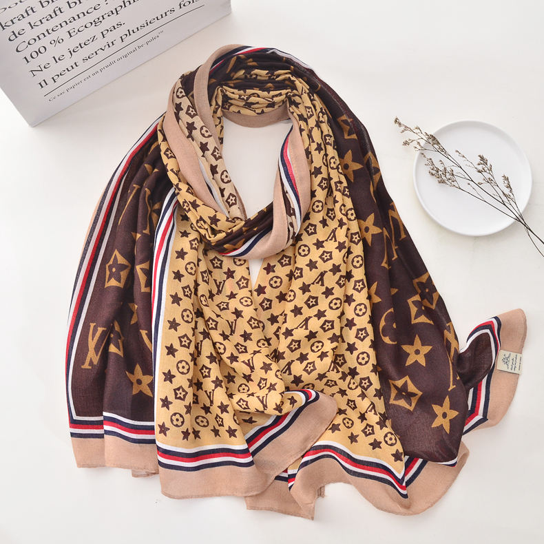 Wholesale Fashion Soft Brand Logo Pattern Printed Wide Linen Shawls Luxury Ladies Scarfs For Women Stylish Cotton Designer Scarf