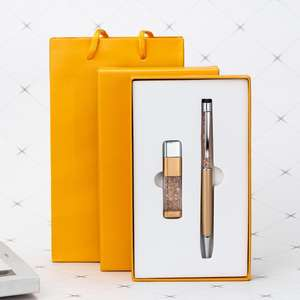 Free sample business customer gift set U disk   pen two-piece gift sets custom with LOGO