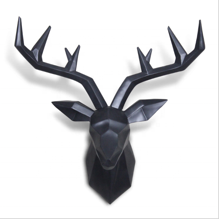 3D animal sculpture geometric wall mount deer head decoration, wall hanging decor resin animal deer head ornament home^