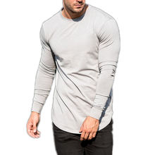 Cotton Elastane Muscle Fit Crewneck Custom Factory Support Gym Wholesale Fitness Clothing Mens Long Sleeve T Shirt