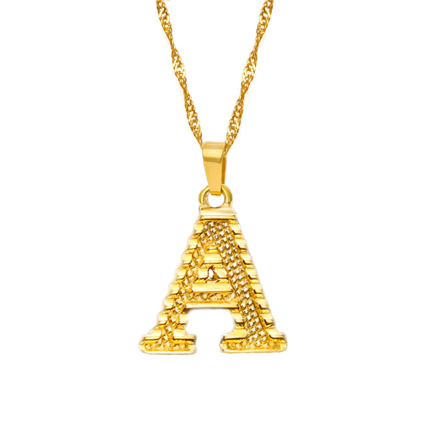 Wholesale Tiny Gold Initial Letter Stainless Steel A-Z Alphabet Pendant Necklace for Women