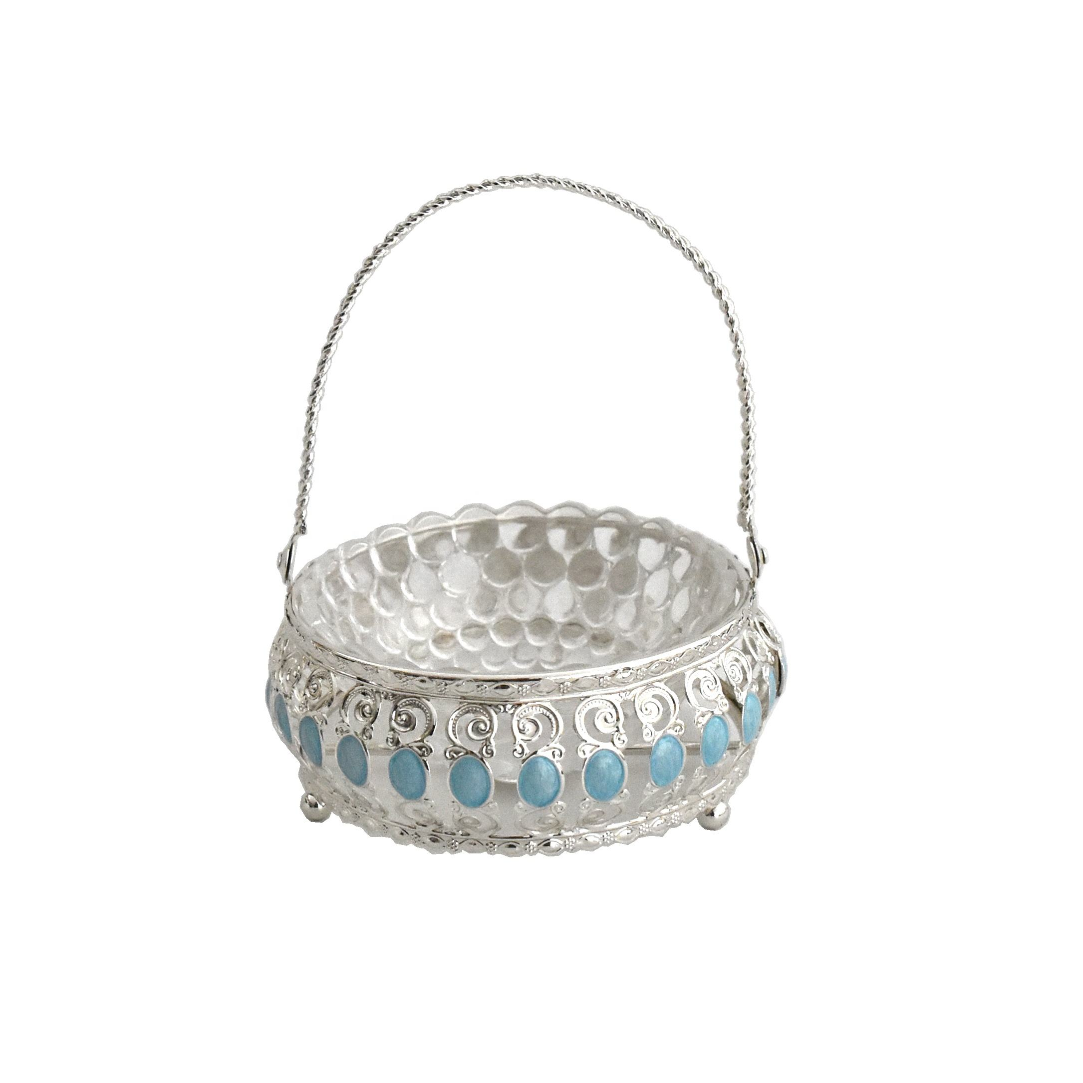 Metal glass Diwali candy bowl India wedding return gifts sugar pot with handle