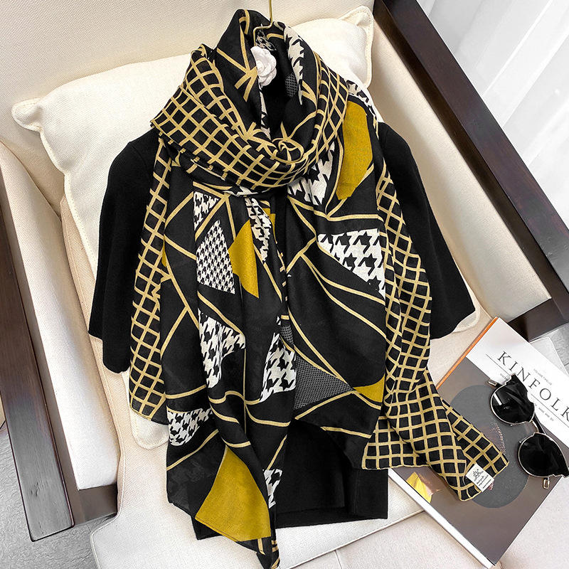 Luxury Plaid viscose Scarf Block and hounds tooth print Large Pashmina and Hijab Fashion Luxury Women Neck shawl wrap