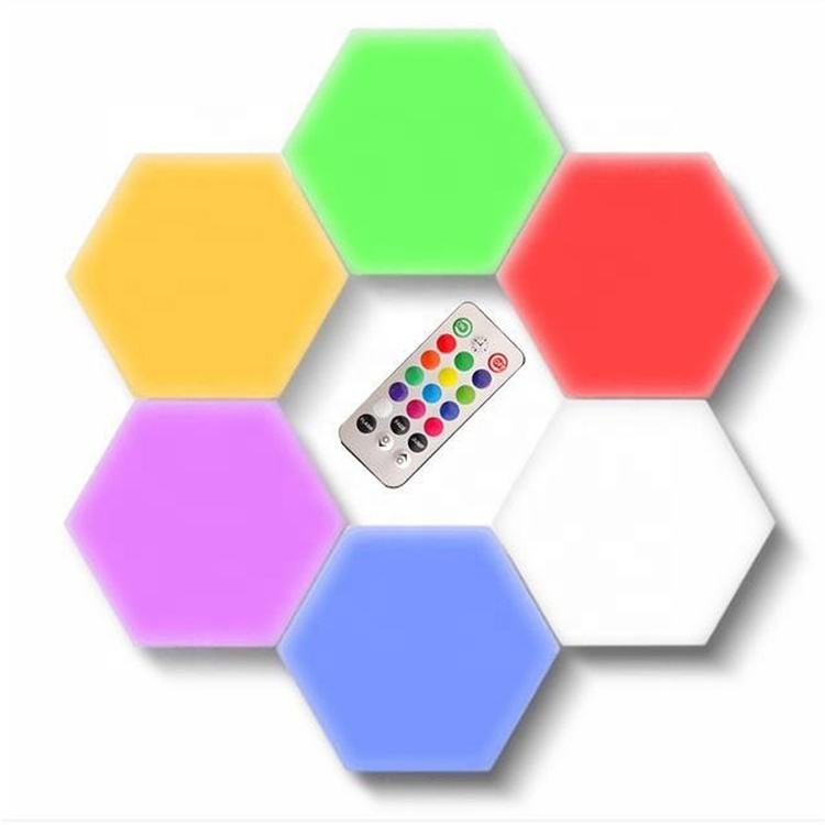 Newish Hotel Home Decor Modern Fancy RGB Interior Indoor Room Hanging Quantum Honeycomb Beehive Touch Led Wall Decorating Light