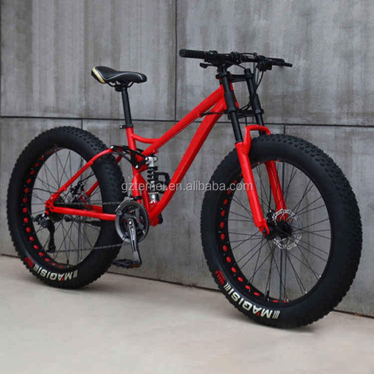 Best cheap full suspension fatbike 24 inch fat snow tire bicycle men mountain bike for sale