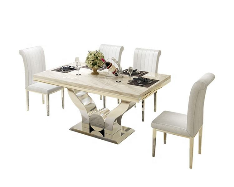 Modern Marble Top Dinning Table Sets 6 8 Seater Stainless Steel Leg Dining Table Set