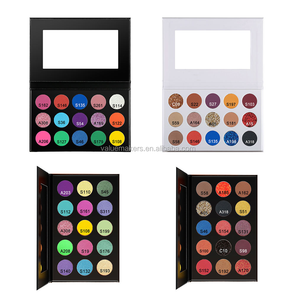 Private Label Make Up Cosmetics 24 Color Pressed Glitter Matte Shimmer Eyeshadow Palette with Cardboard Box UV reaction