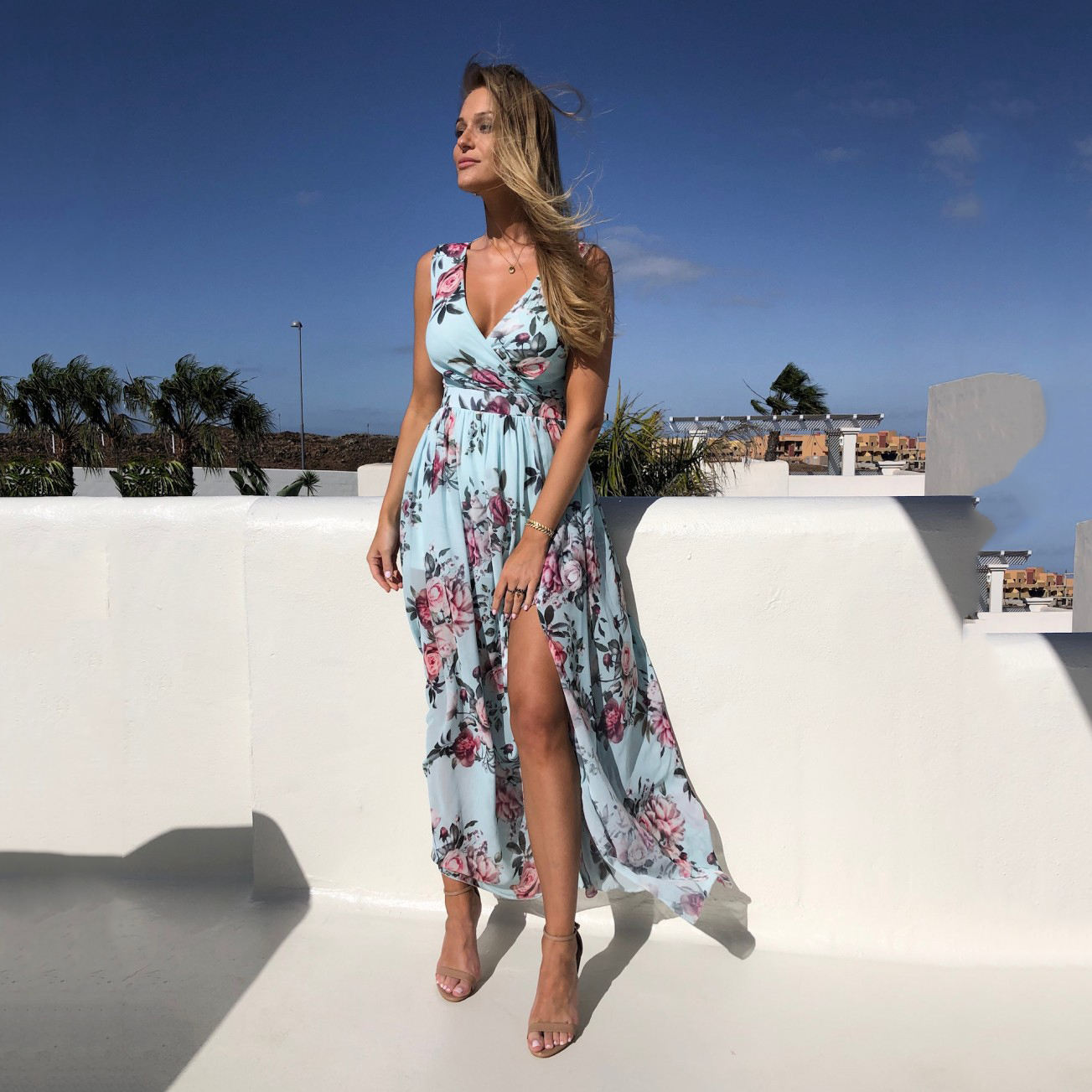2020 New summer eBay Printed Beach Dress chiffon dress sleeveless Holiday Beach split long skirt Dress