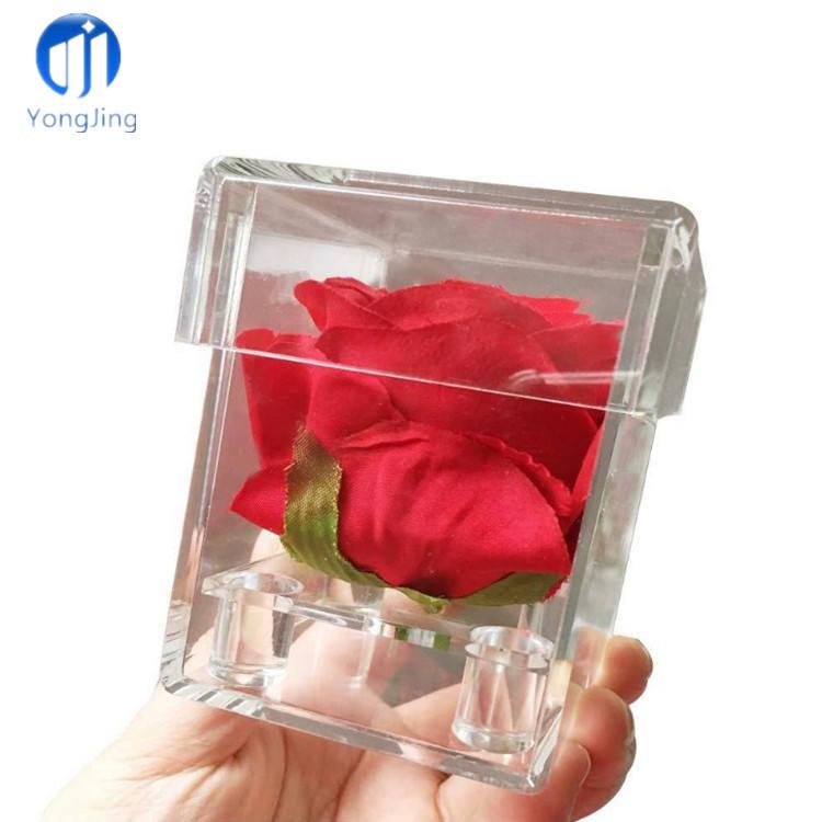 YongJing logotipo personalizado de San Valentín Rosa pantalla caso claro de acrílico plástico de la caja de regalo