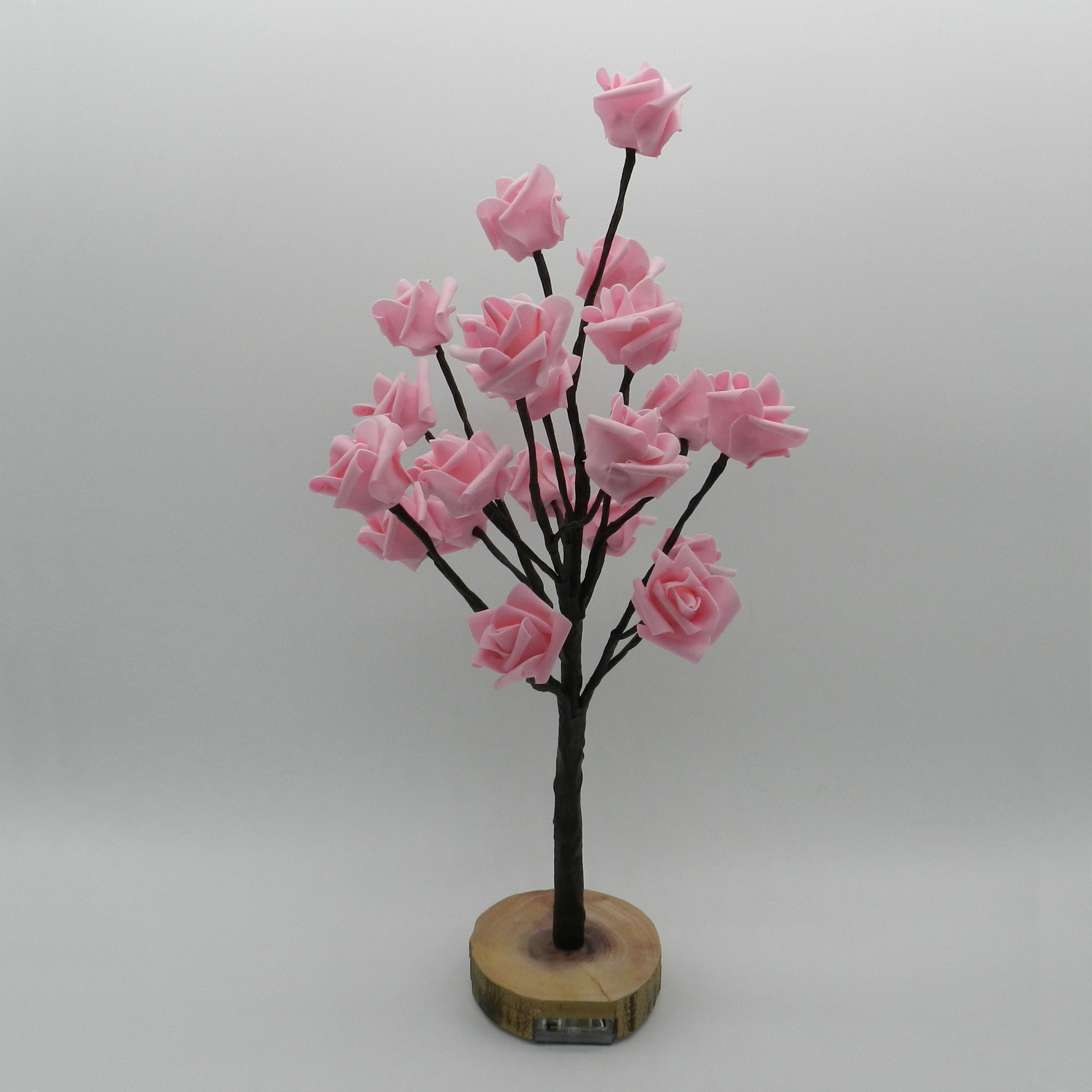 Battery Operated w/Timer Lighted Pink Rose Tree Tabletop LED Light, 20 Warm White LEDs, Rustic Vintage Wooden base