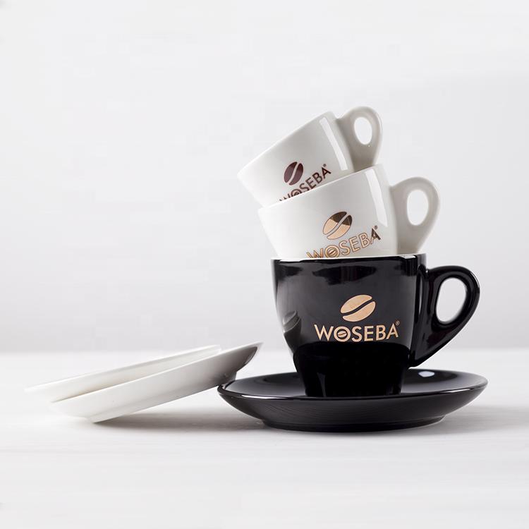 Vintage Black Heavy Duty Restaurant Ware Demitasse Espresso Cups /& Saucers