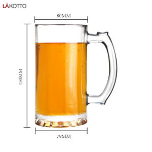China Supplier wholesale high quality 490ML Clear Cheap Transparent big glass beer mug with handle