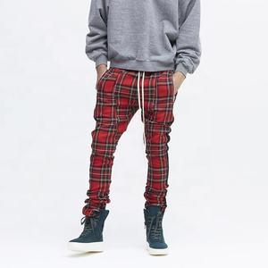 OEM fog usa street casual ankle zipper jogger pants vintage plaids slim fit pants elastic waist draw string sweatpants stock