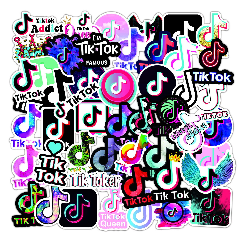 TIK Tok Stickers 50PCS Vinyl Dance and Glitter Decals for Laptop Water Bottle Graffiti Computer Scrapbook Decorations