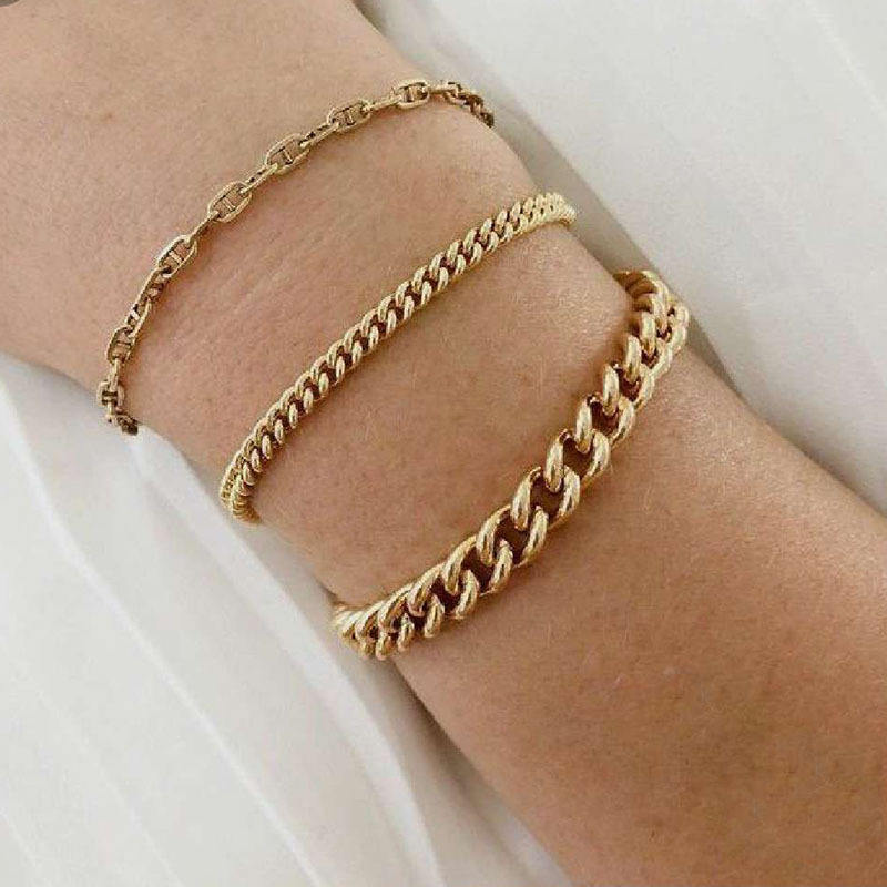 High End 18K Gold Plated Stainless Steel Bracelet for Women Link Chain Bracelet 2020 Jewelry Wholesale
