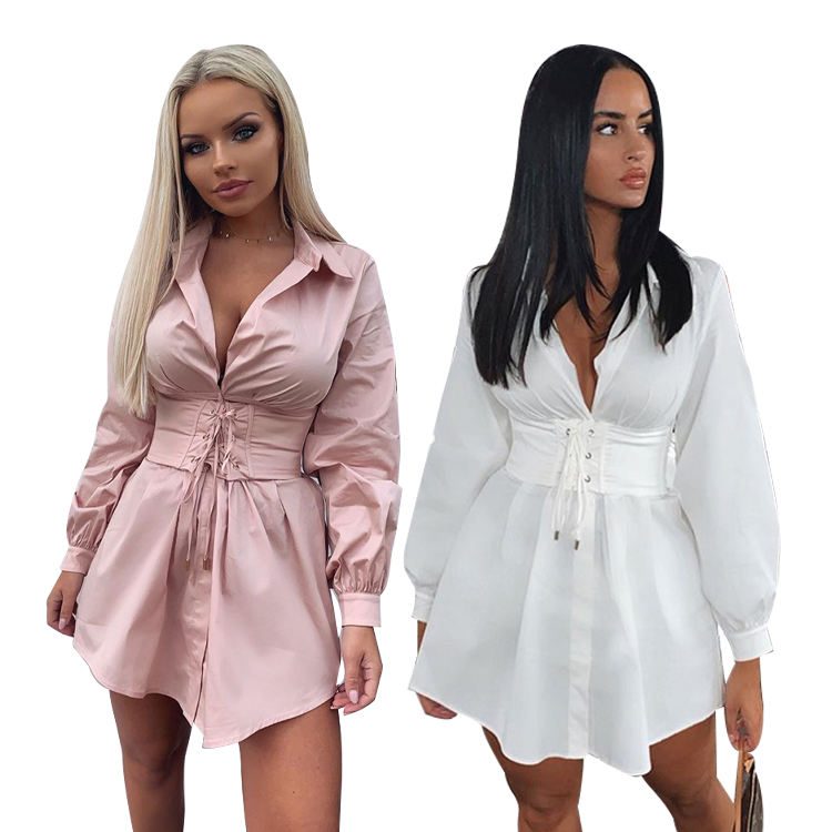 Wholesale Autumn Vintage White Pink 2020 New Women Long Sleeve Lace Up Mini Sexy Corset Shirt Casual Dresses