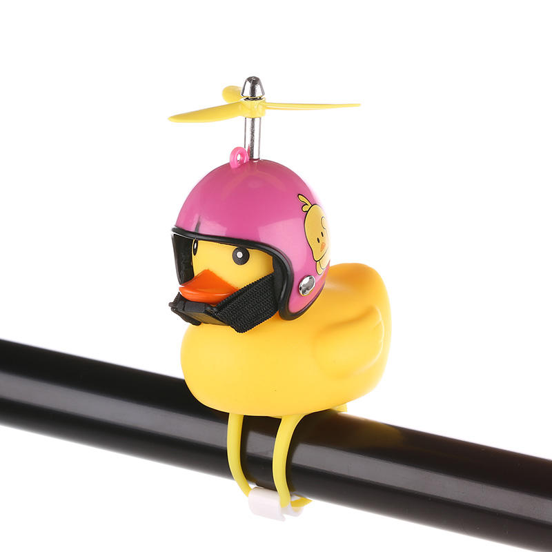 2019 Hot Sale Cute Liittle Yellow Duck With Helmet, Bicycle Lights Bell Decoration