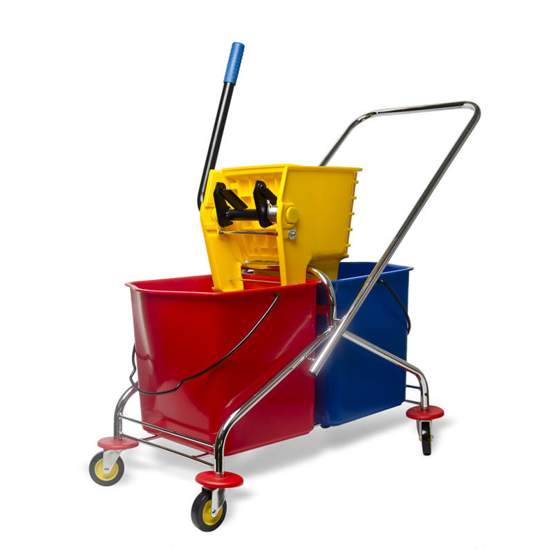 Factory direct 50 liters plastic side mop wringer yellow cleaning mop bucket Mop wringer