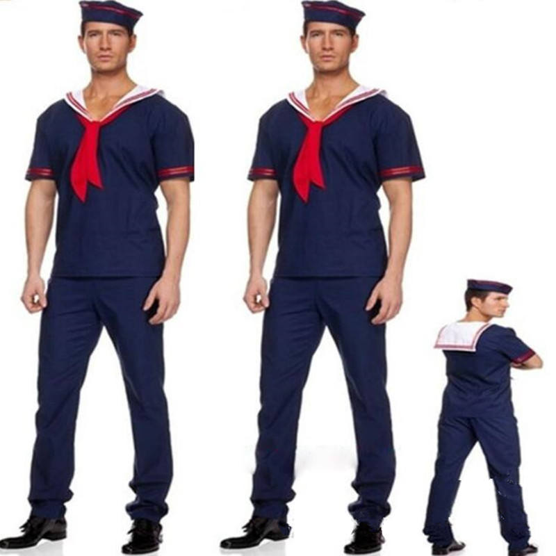 Nieuwe Marine Kostuum Man Sailor Cosplay Christmas <span class=keywords><strong>Party</strong></span> Fancy Dress Decoratie Sets