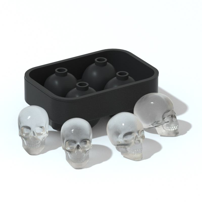 FL--factory Amazon wholesale 4 unit 3D Skull silicone flexible ice cube mold jello tray mould silicone