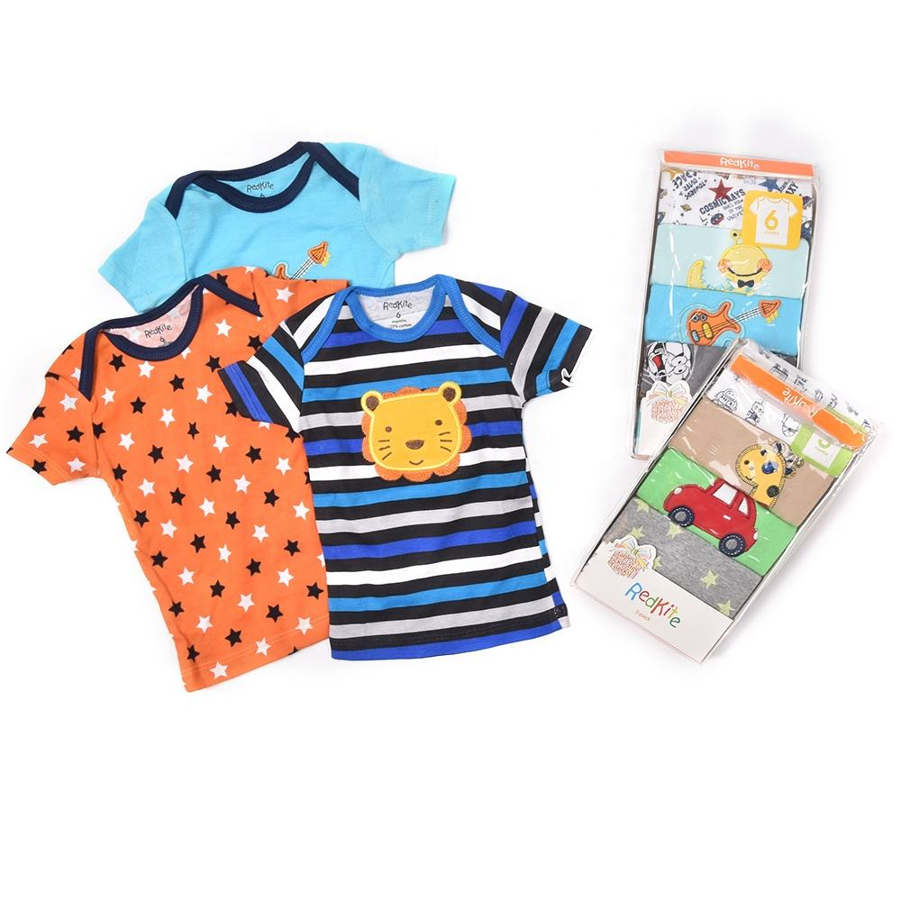 5 Pieces Random Design Good Quality Pure Cotton Breathable Cute T Shirt baby