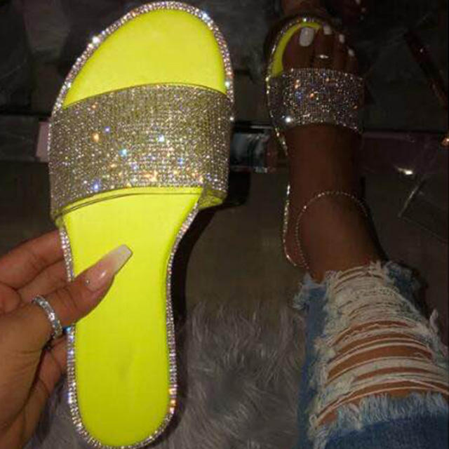 New Slippers Rhinestone Flip Flops Summer Slides Women Shoe Crystal Bling Beach Slides Sandals Casual Shoes