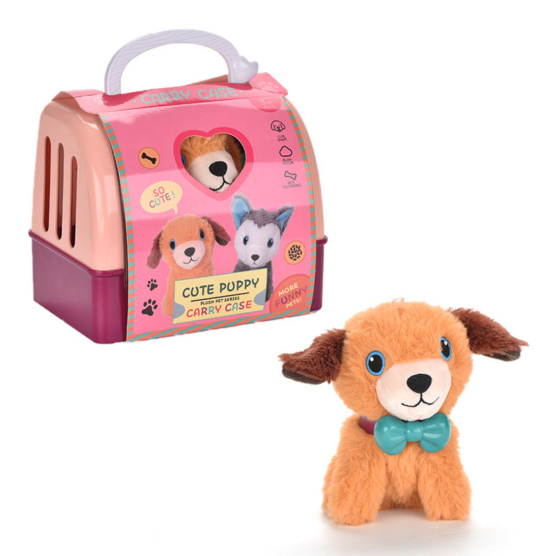 2021 arrive gift toy stuffed pet dog house plush dog toy play set with cage for children