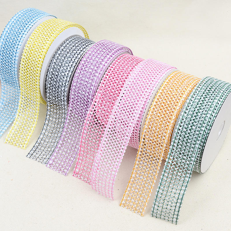 High Quality Embossed Logo Ribbon Printing Silver Mesh Plaid Christmas Ribbon